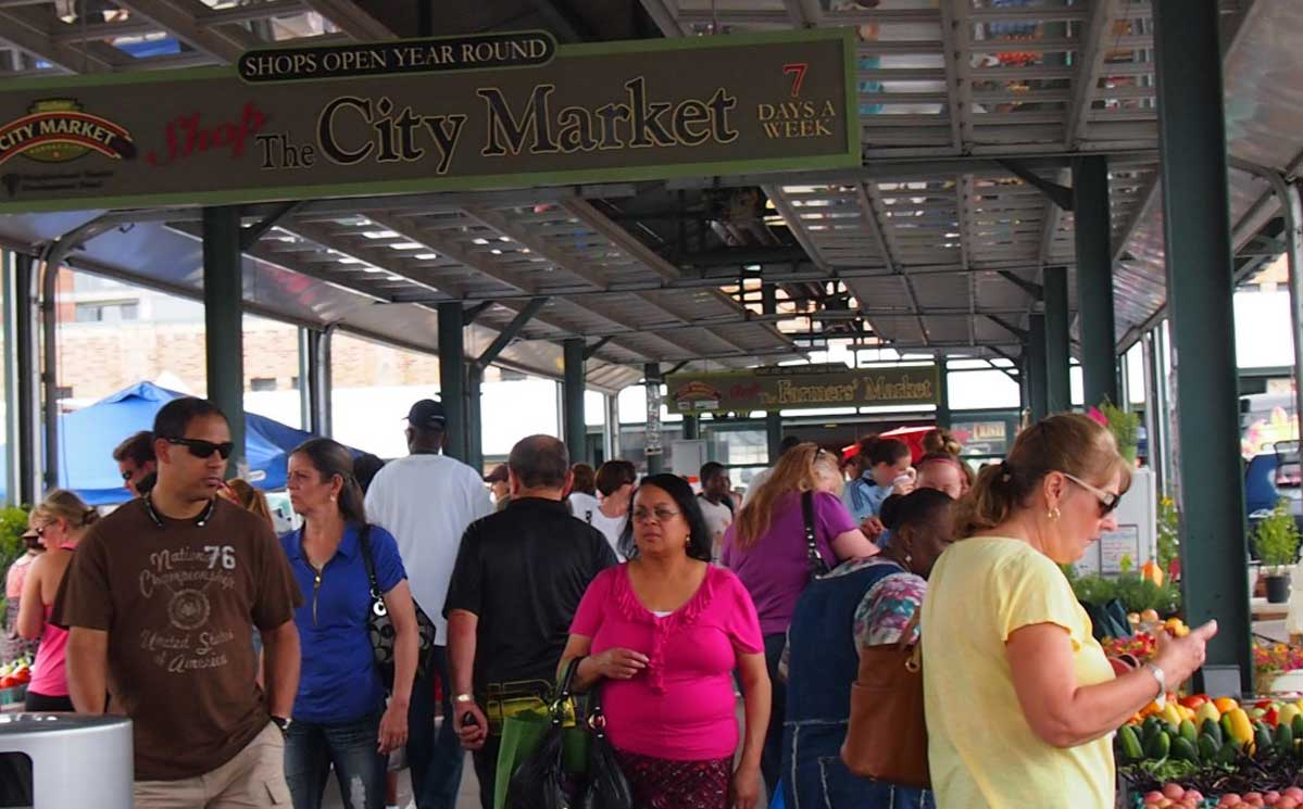 Crowd at the City Market in August 2013.
